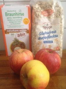 Powerfrühstück vegan mit Haferflocken, Braunhirse, Äpfeln